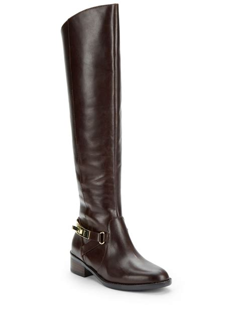 french connection yolanda leather knee high boots  brown