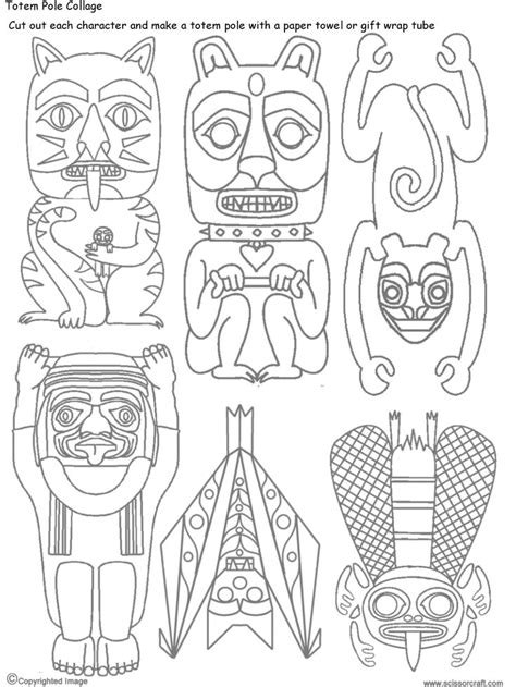 Totem Pole Bear Template by Native American Totem Pole Coloring Pages Coloring Pages