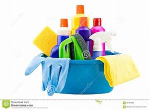 Cleaning tools in bucket on white background stock