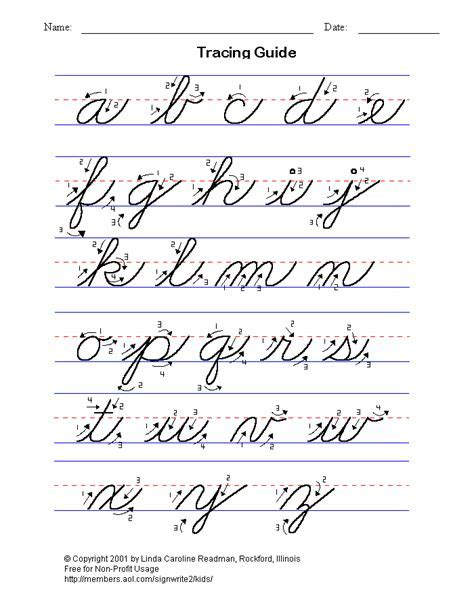 cursive handwriting worksheet writing