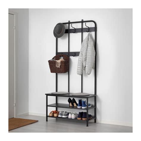 pinnig coat rack with shoe storage bench black 193 cm ikea