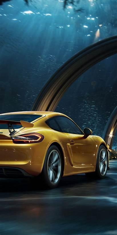 Porsche Yellow Digital Tunnel Background