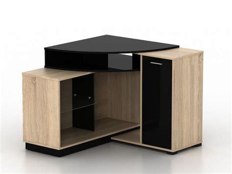 meuble bureau noir meuble tv d 39 angle amael avec rangements chêne noir