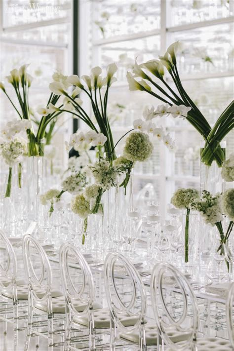 modern white wedding  clear decor elegantweddingca