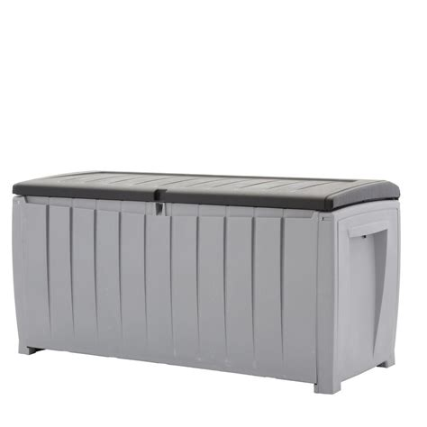 keter jumbo deck box grey rubbermaid 90 gal large deck box with seat fg5f2200olvss