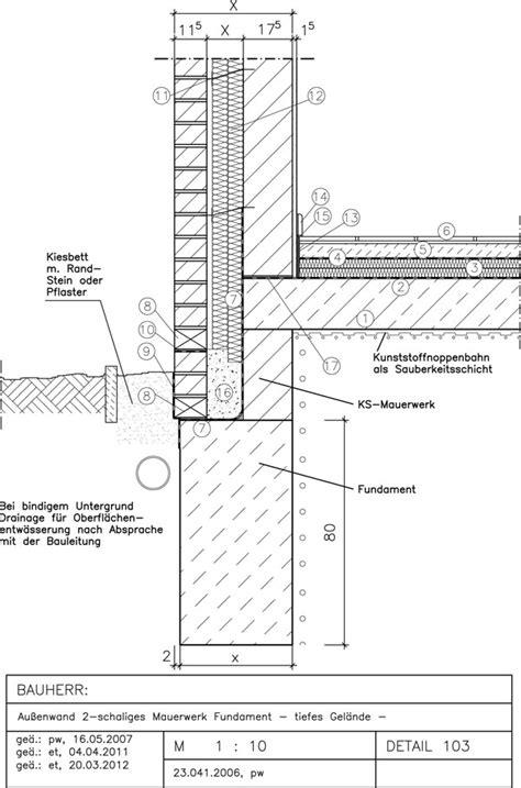 2 schaliges mauerwerk 103 au 223 enwand 2 schaltig fundament tiefes gel 228 nde avanet