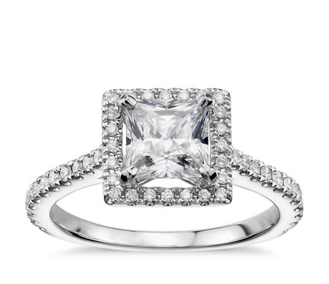 princess cut floating halo diamond engagement ring in 14k white gold 1 3 ct tw blue nile