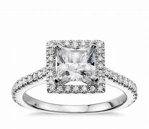 princess cut floating halo diamond engagement ring in 14k With white gold princess cut diamond wedding rings