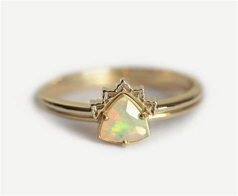 Opal Engagement Ring Set Opal Wedding Ring Lace By Minimalvs