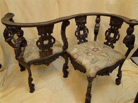 fauteuil deux places dit confident italie xixeme siecle