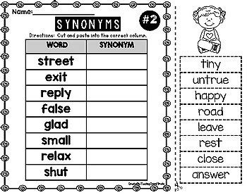 Synonyms Worksheets Cut And Paste By Teaching Second Grade Tpt