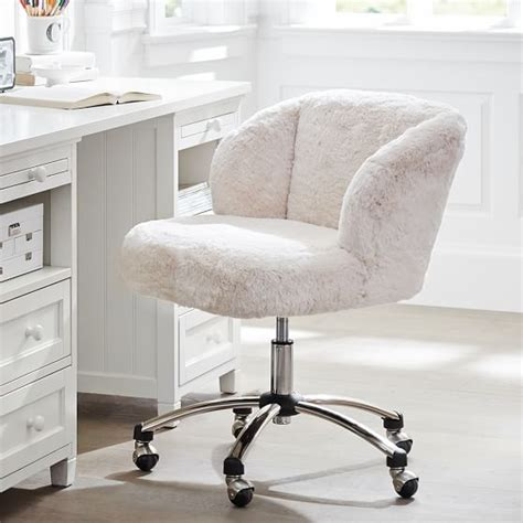 small white office chair polar faux fur wingback chair pbteen