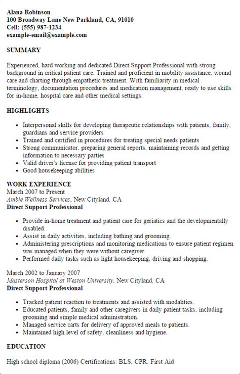 Direct Support Professional Resume Exles professional direct support professional templates to
