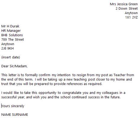 teacher resignation letter  toresigncom