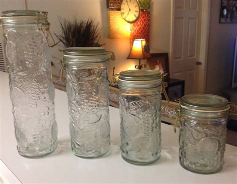 green kitchen canisters vintage glass jars canisters embossed fruit locking lids