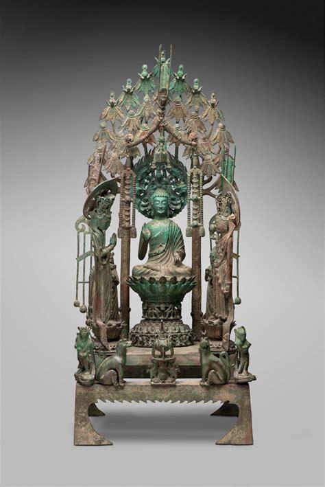 altarpiece  amitabha  attendants museum  fine