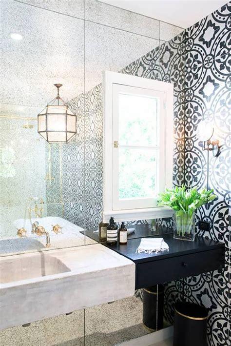 black  white bathroom  moroccan style tiles tile