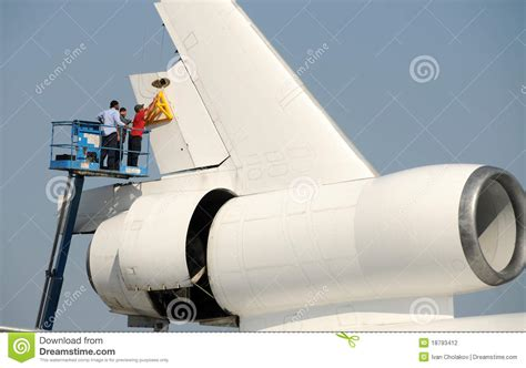 airplane rudder removal editorial photography image
