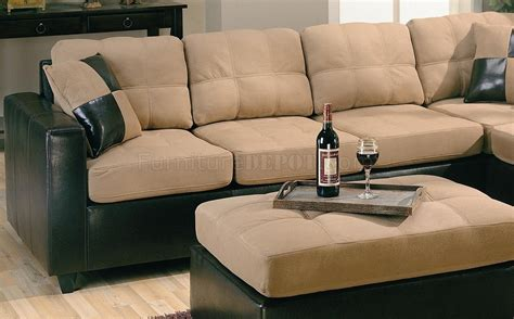leather and microfiber sectional two tone microfiber brown faux leather