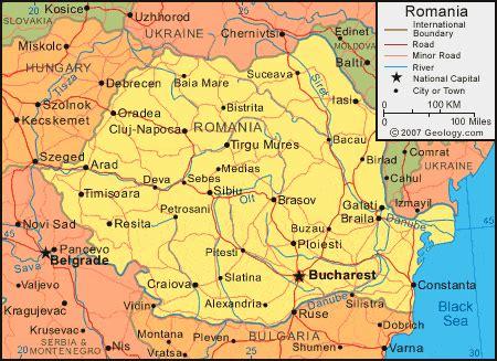 romania map  satellite image