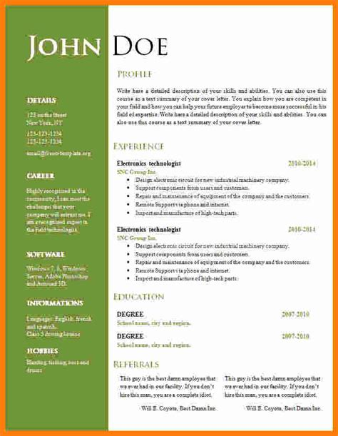 Cv Document Format by 6 Cv Format Word Document Theorynpractice
