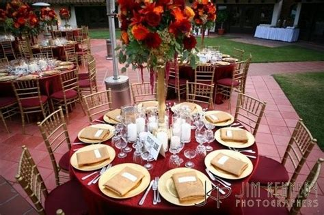 burgundy gold wedding table setting married