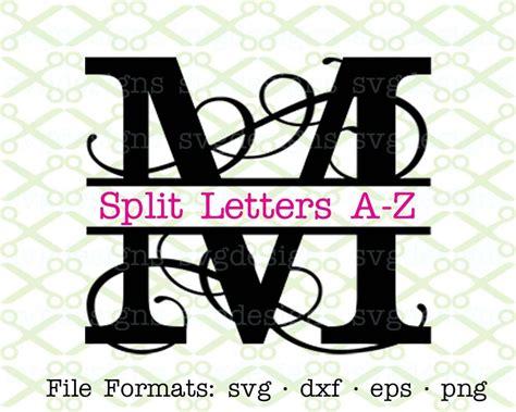 flourish split letter monogram svg dxf eps png split etsy