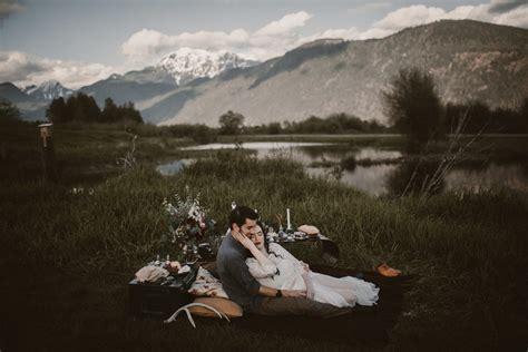 glorious mountain sunset wedding picnic