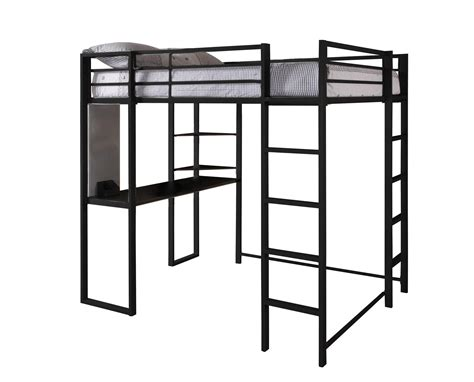 loft bed with desk full size mattress dhp furniture abode full size loft bed