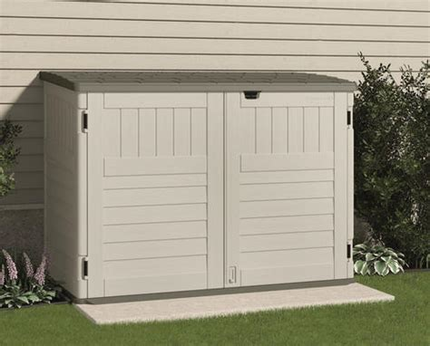 menards resin storage sheds suncast the stow away 174 horizontal storage unit