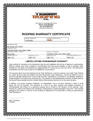 Roof Certification Form Template by How To Write A Roofing Warranty Fill Printable