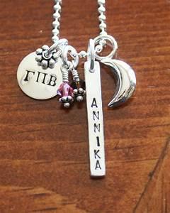 Greek letters name bar necklace ks impressions for Sorority necklaces letters