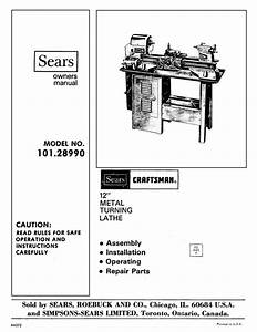 Craftsman 101 28990 12 Metal Lathe Owners Manual
