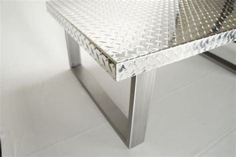 hand  industrial diamond plate metal coffee table