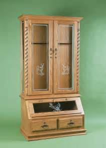 wood gun cabinet with deer etched glass cabinets design