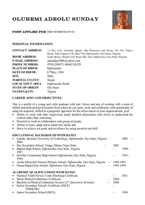 curriculum vitae curriculum vitae samples nigeria
