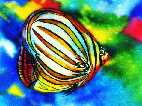 brightly colored fish fish watercolor with water bubbles stock