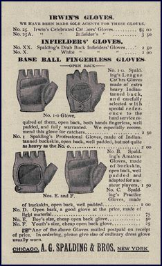 baseball history  century baseball  equipment page