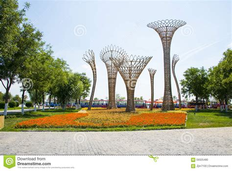 landscaping sculptures asia china wuqing tianjin green expo landscape sculpture editorial image image 59325480