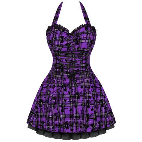 LADIES NEW HEARTS u0026 ROSES LONDON PURPLE TARTAN TATTOO PUNK EMO PROM PARTY DRESS | eBay