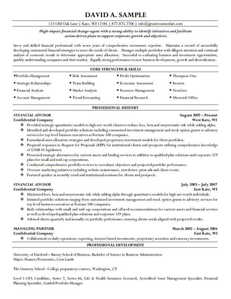 Financial Advisor Resume Format by Financial Advisor Resume
