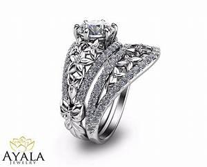 Floral Diamond Bridal Set Unique Engagement Ring39s Set 14K