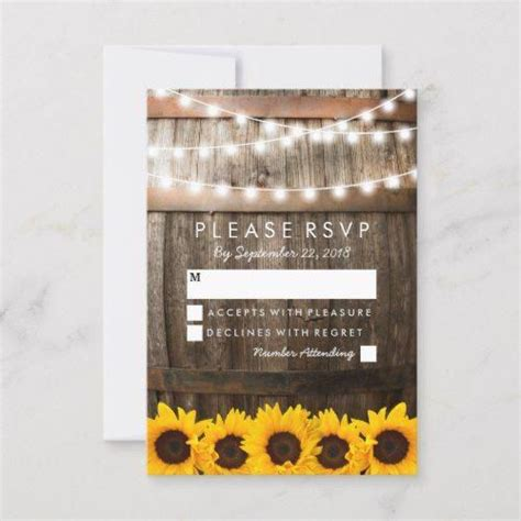 rustic country wedding rsvp sunflower lights