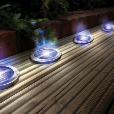 solar powered stainless steel blue deck lights envirogadget
