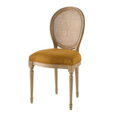 chaise medaillon cannee en lin lave ocre louischaise medaillon jaune xxcm maisons du