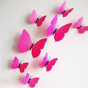 3D vlinders fuchsia - Muurstickers&zo
