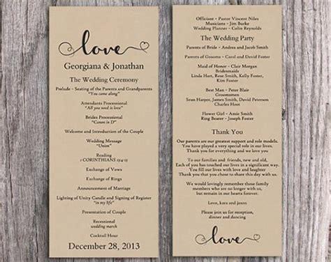 burlap wedding program template diy editable word file
