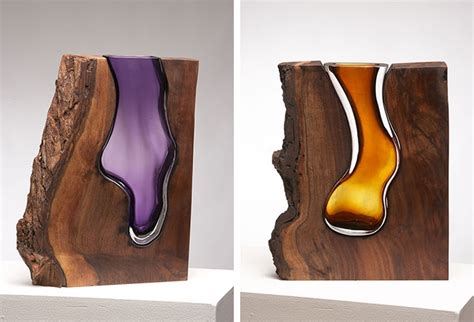 molten glass blowing fused  woods creates dazzling