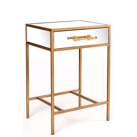 rose gold bedside table gold single drawer mirror nightstand