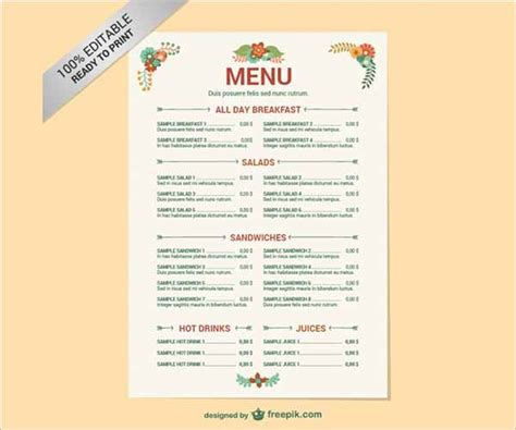 menu templates  word documents